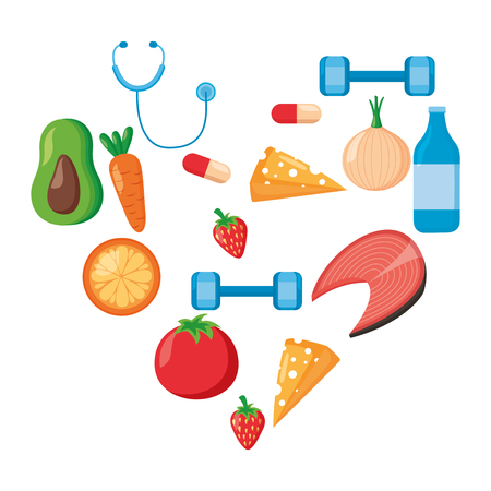 Frutas vegetales médicos deporte corazón día mundial de la salud ilustración vectorial