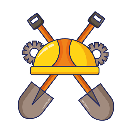 helmet shovels gear construction tool vector illustration