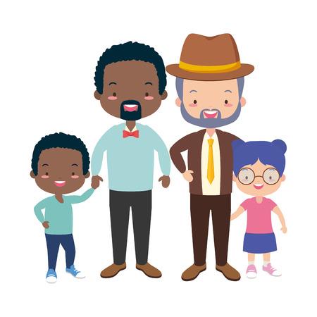 parents and kids celebration fathers day vector illustration design Illustration