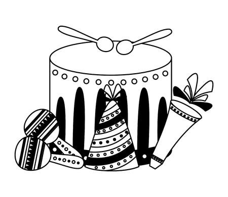 drum fireworks maracas carnival vector illustration design Çizim