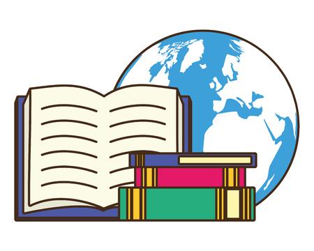 libros de texto mapa de la tierra - ilustración de vector de día mundial del libro