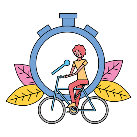 woman riding bike stopwatch on white background vector illustration