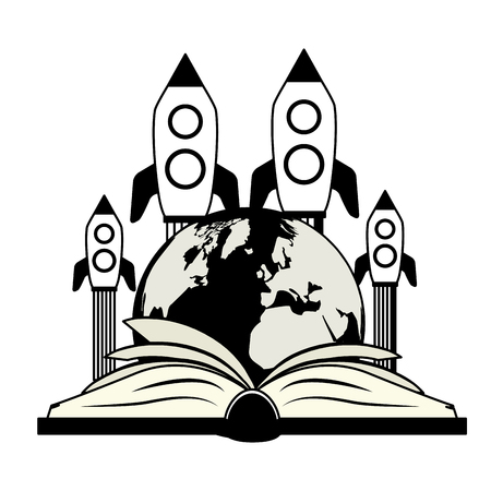 open textbook flying rocket - world book day vector illustration vector illustration Çizim