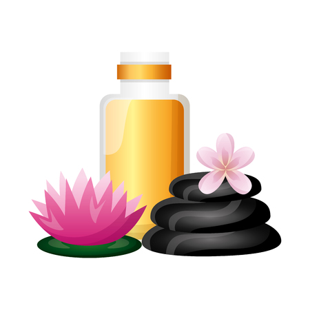 gel stones flower spa treatment therapy vector illustration Archivio Fotografico - 122576097
