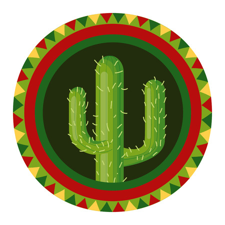 cactus mexico cinco de mayo badge vector illustration