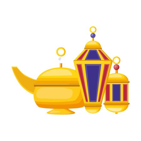 indian tea pot and lantern culture vector illustration design Banque d'images - 122576103