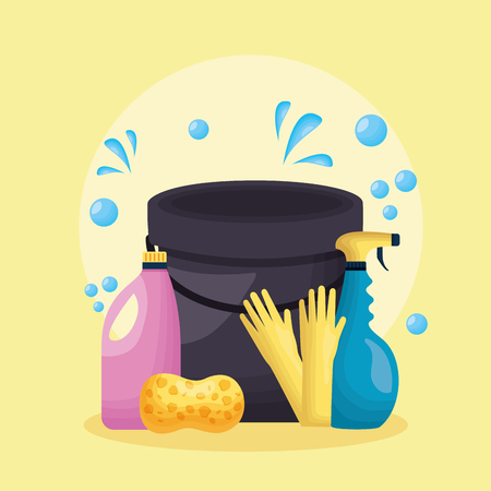 bucket sponge gloves spray liquid soap spring cleaning tool vector illustration