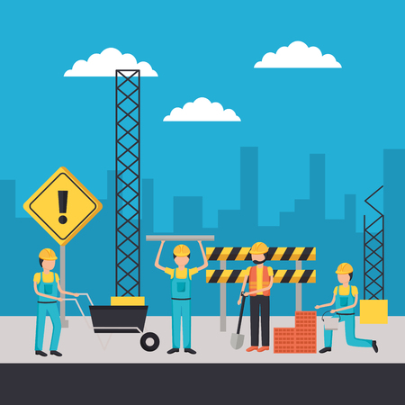 workers construction characters equipment working vector illustration