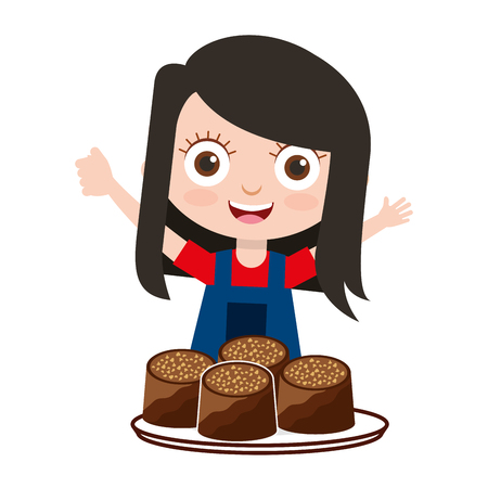 cute girl with chocolate candies vector illustration Çizim
