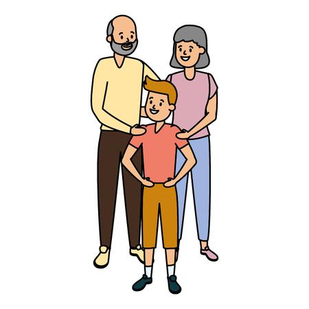 grandparents and grandson family vector illustration design Stock fotó - 122576117