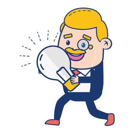 businessman bulb creativity idea vector illustration design Illustration