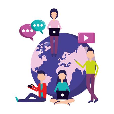 people world laptop mobile message social media vector illustration