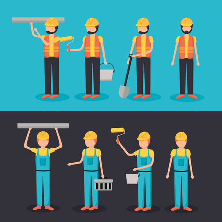 workers construction characters equipment set vector illustration
