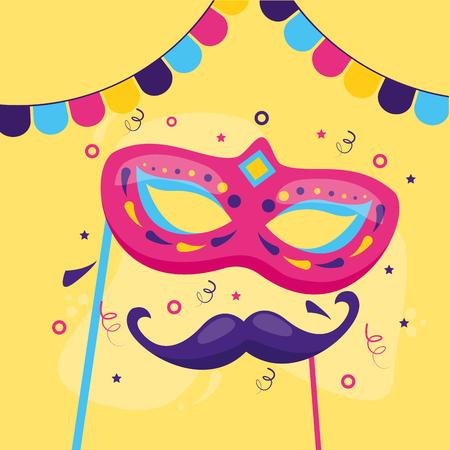 carnival mask and mustache vector illustration design Illusztráció