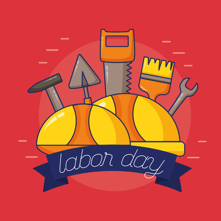 hardhats tools construction labour day vector illustration