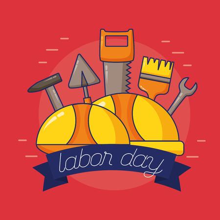 hardhats tools construction labour day vector illustration 일러스트