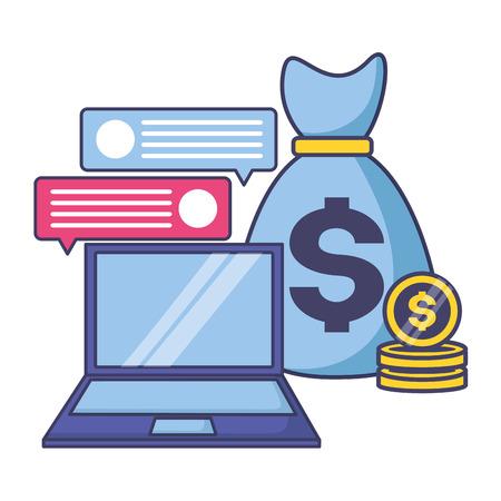 laptop money bag coins tax time payment vector illustration Illustration