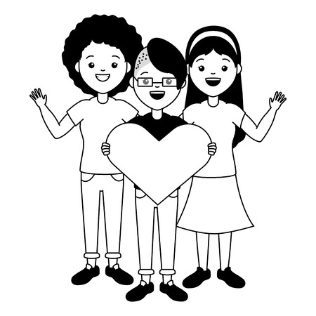 happy women heart lgbt pride vector illustration Ilustração
