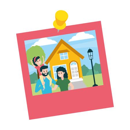 photo, maison familiale, paysage, vecteur, illustration, conception