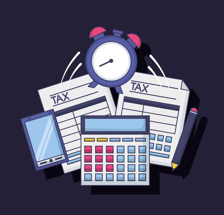 calculator clock cellphone pencil form tax payment vector illustration