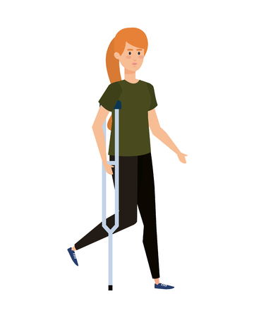woman in crutch character vector illustration design Stock Illustratie