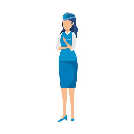 Asistente de vuelo femenino avatar ilustración Vectorial character design Ilustración de vector