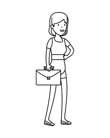 young woman with portfolio character vector illustration design Standard-Bild - 122580617