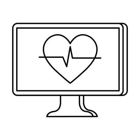 desktop with heart cardio telemedicine vector illustration design Illustration