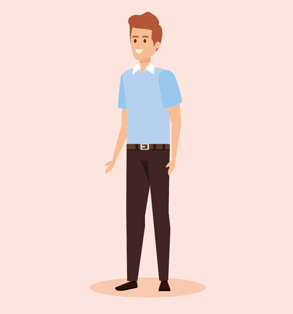 happy man wearing shirt and pant with hairstyle vector illustration  イラスト・ベクター素材