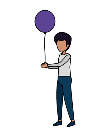 young man with balloons helium floating vector illustration design