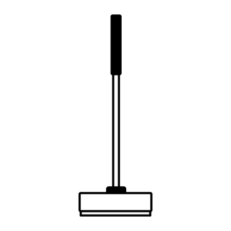 broom tool cleaning on white background vector illustration Çizim