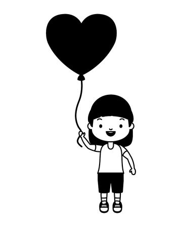 happy girl with balloon heart love vector illustration
