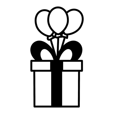 gift box balloons decoration vector illustration design Çizim