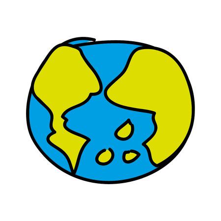 world planet earth drawing icon vector illustration design Ilustração
