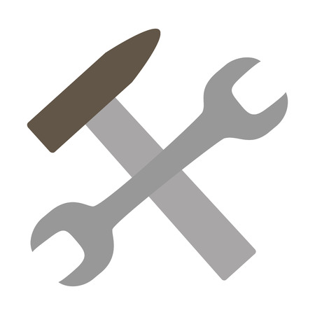 wrench hammer tools on white background vector illustration