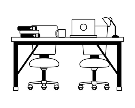 office desk chair laptop workplace vector illustration
