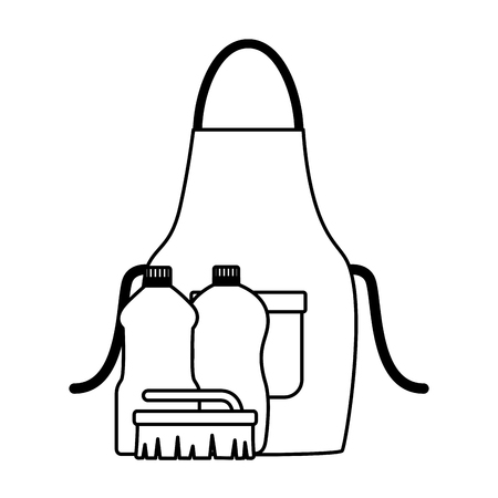apron liquid detergent brush spring cleaning tools vector illustration