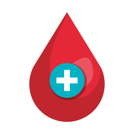 blood drop with medical cross vector illustration design Çizim