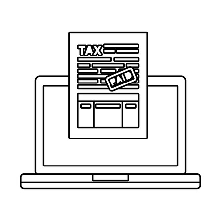 laptop computer with tax documents vector illustration design Ilustração