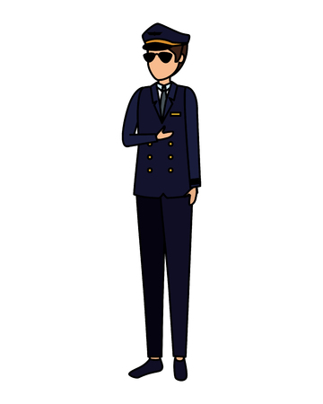 aviation pilot avatar character vector illustration design Archivio Fotografico - 122011226