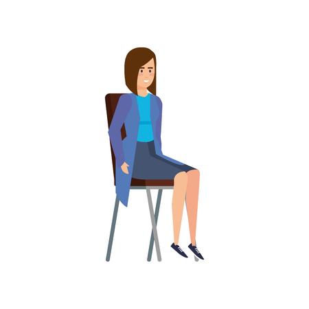 elegant businesswoman sitting in chair vector illustration design Standard-Bild - 122581116