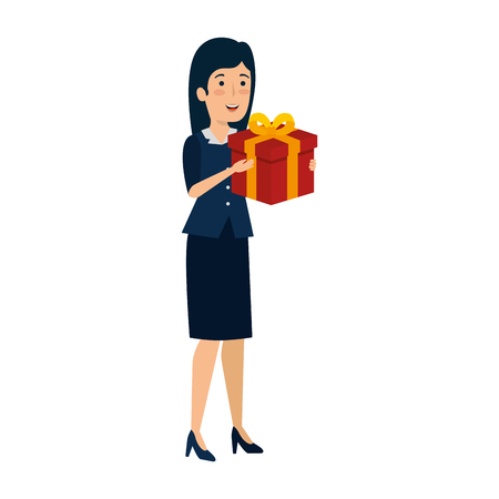 young businesswoman with gift box vector illustration design Vectores