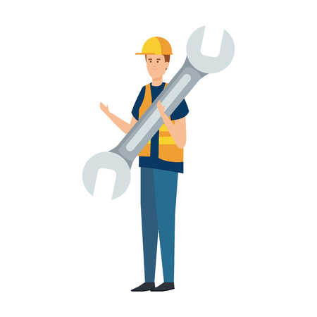 builder worker with helmet and wrench vector illustration design Vectores