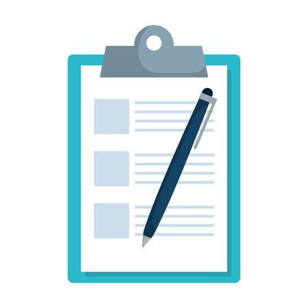Presse-papiers de la liste de contrôle avec la conception d'illustration vectorielle de stylo Vecteurs