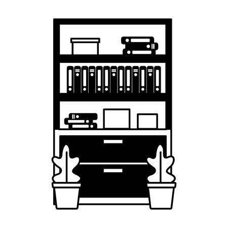 office bookshelf books furniture plants vector illustration Stock Illustratie