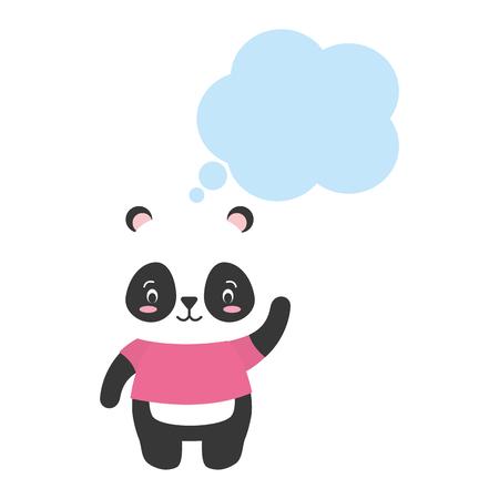 cute panda cartoon speech bubble vector illustration design