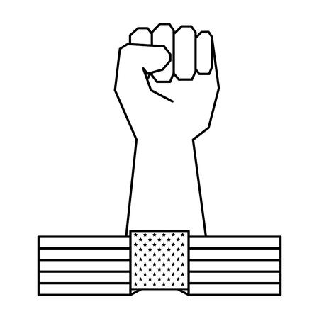 hand human fist and usa flag vector illustration design Stock fotó - 122581276
