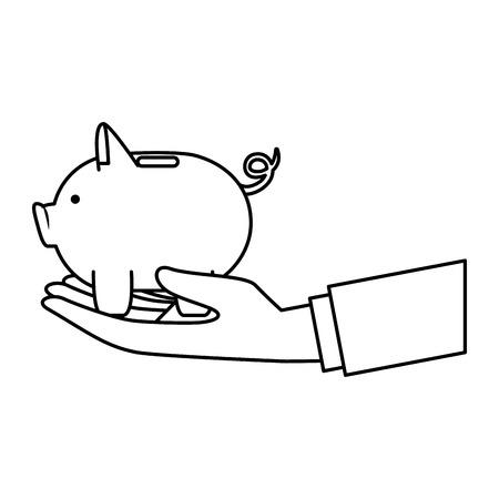hand lifting piggy money savings vector illustartion design
