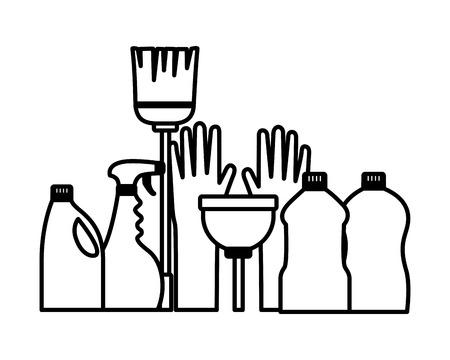 Outils de nettoyage de printemps gants plongeur balai vadrouille carreaux muraux vector illustration Vecteurs