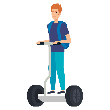 young man in folding e-scooter vector illustration design